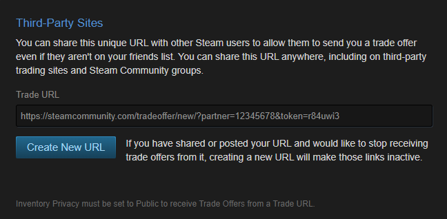 Steam profile ID, trade offer settings