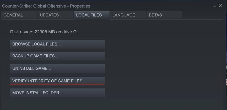 game files integrity verification CSGO 2020