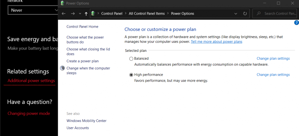 Windows 10 Additional Power Settings Tuning